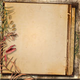 Vintage background with a border of autumn leaves Royalty Free Stock Photos
