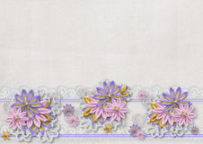 Vintage background with a border of flowers handmade Stock Photo