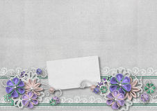 Vintage background with a border of flowers handmade Stock Image