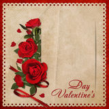 Vintage background with a bouquet of red roses Royalty Free Stock Image