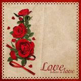 Vintage background with a bouquet of red roses Royalty Free Stock Photos