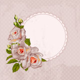 Vintage background with bouquet of roses anf circle frame. Royalty Free Stock Photos