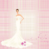 Vintage background with bride. Pink background to lines with splendid bride Royalty Free Stock Photography