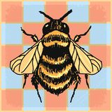 Vintage background with bumble bee. Stylish, vintage, grunge background with bumble bee stock illustration