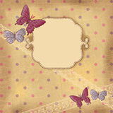 Vintage background with butterflies and lace. Old Stock Image