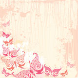 Vintage background with butterfly in pink vector illustration