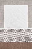 Vintage background with canvas on lace fabric and burlap Royalty Free Stock Photos