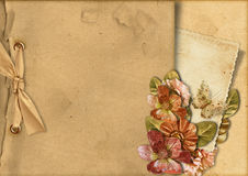 Vintage background with card&gorgeous flowers Stock Image