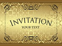 Vintage background, card, invitation. With vintage frame, abstract pattern template for wedding design. Gold luxury background royalty free illustration