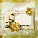Vintage background with card and paper flowers Stock Photos