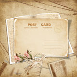 vintage background with a card and roses Stock Photography