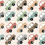 Vintage background with cartoon cars Stock Images