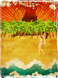 Grunge cartoon volcano island and girl Stock Images