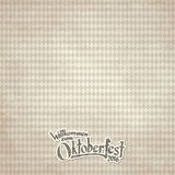 Vintage background with checkered pattern for Oktoberfest 2016. Old vintage background with checkered pattern and patchwith text Welcome to Oktoberfest 2016 (in Stock Image
