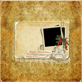 Vintage background with Christmas cards and decorations Royalty Free Stock Photo