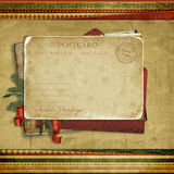 Vintage background with Christmas postcard Stock Photos