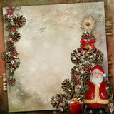 Vintage background with  Christmas tree and Santa Claus Royalty Free Stock Photography