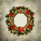 Vintage background with a Christmas wreath and angel Stock Photos
