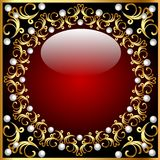 Vintage background from a circular ornament with pearls Royalty Free Stock Images