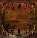 Vintage Background with Clock and Rose Corners. A romantic misty vintage background in browns, bronze and gold with elements of ocean and sky overlayed by a Stock Photos