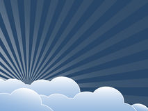 Vintage background with clouds. Flat design illustration Stock Photos