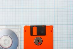 Floppy disks and mini-CD Royalty Free Stock Photography