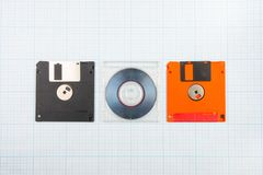 Floppy disks and mini-CD Stock Images