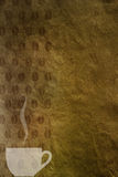 Vintage background with a cup of coffee and coffee beans pattern Stock Photo