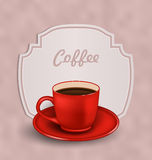 Vintage Background with Cup of Coffee and Label Stock Photography