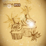 Vintage background with Cupcake and cinnamon Royalty Free Stock Image