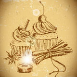 Vintage background with Cupcake and cinnamon Royalty Free Stock Images