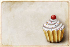Vintage background with cupcake Stock Image