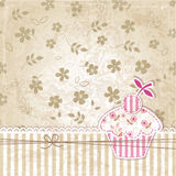 Vintage background with cupcake Royalty Free Stock Photos