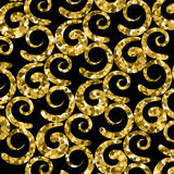 Vintage background with curves isolated on black. Seamless pattern. With golden curves in retro style. Wallpaper design with gold glittering twiddle quirk stock illustration