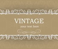 Vintage background with decorative frame. Elegant design element template with place for your text. Floral border. Stock Image