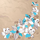 Vintage background with decorative lily flowers Stock Photo