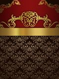 Vintage background with decorative patterns. Decorative vintage background with elegant golden border and old-fashioned patterns. Vintage invitation card design Stock Photos