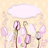 Vintage background with decorative tulip flowers. Royalty Free Stock Photos