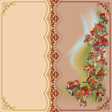 Vintage background depicting a landscape with a small village Royalty Free Stock Images