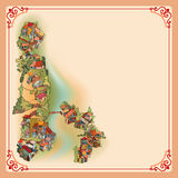 Vintage background depicting a landscape with a small village Royalty Free Stock Photography