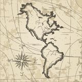 Vintage background of the diagram. The old geographic of America and the Atlantic Ocean. Vintage background of the diagram. Vector illustration Stock Photo