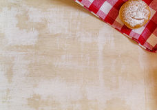 Vintage Background with donut on rustic red checkered napkin Royalty Free Stock Image