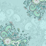 Vintage background with doodle flowers on blue. Vintage background with doodle flowers   butterflies   hearts   on blue  for  advertising or decoration different Royalty Free Stock Photo
