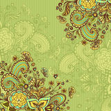 Vintage background with doodle flowers on green Royalty Free Stock Image