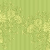 Vintage background with doodle flowers on green Stock Photo