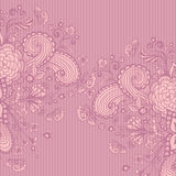 Vintage background with doodle flowers on pink lilac Royalty Free Stock Photos