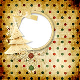 Vintage background with dots and christmas tree Stock Photo