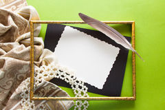 Vintage background with drapery, frame and paer Stock Images