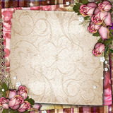 Vintage  background with dried roses. Pink and beige vintage  background with dried roses Stock Photography
