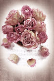 Vintage background with dried roses Royalty Free Stock Photography